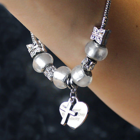 Personalised Ice White Cross & Heart Charm Bracelet