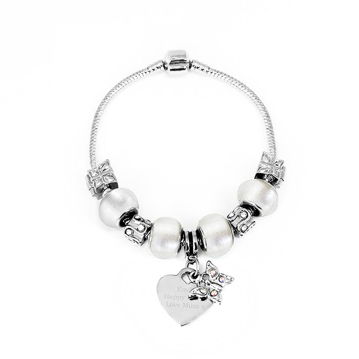 Personalised Ice White Butterfly & Heart Charm Bracelet - Personalised Gift Solutions - 2
