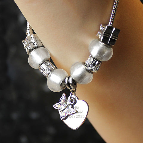 Personalised Ice White Butterfly & Heart Charm Bracelet