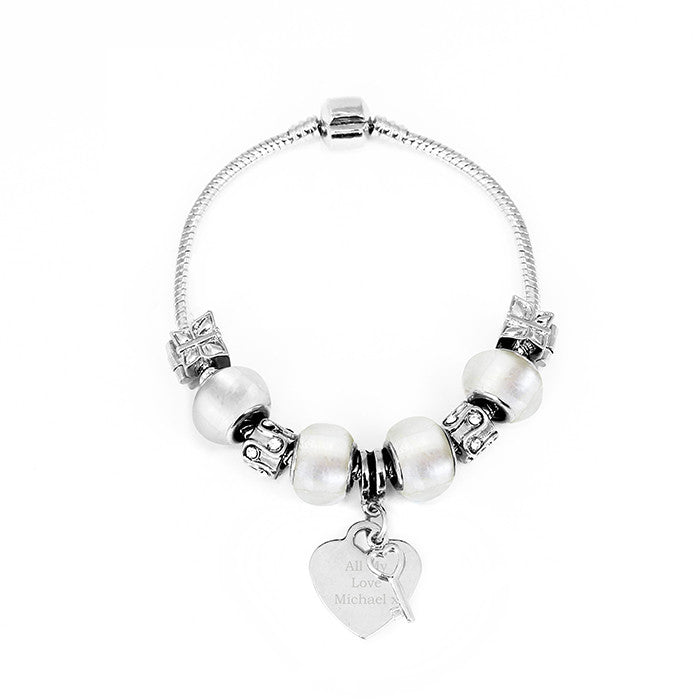 Personalised Ice White Key & Heart Charm Bracelet - Personalised Gift Solutions - 2