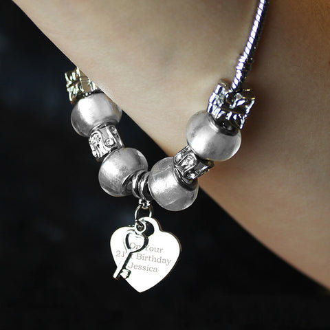 Personalised Ice White Key & Heart Charm Bracelet