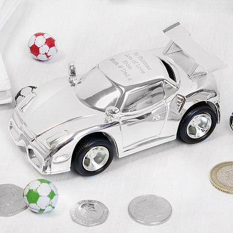 Personalised Silver Racing Car Money Box