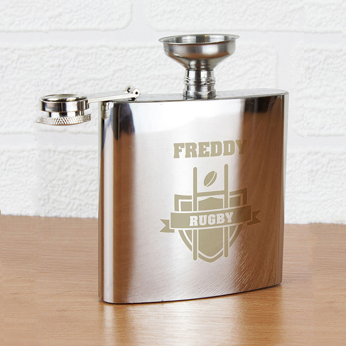 Personalised Rugby Hip Flask - Personalised Gift Solutions - 1