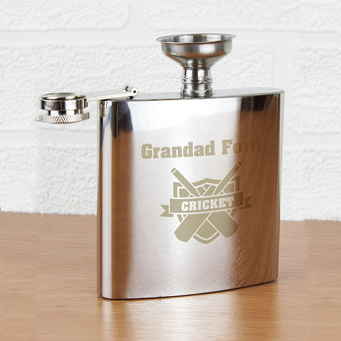 Personalised Cricket Hip Flask - Personalised Gift Solutions - 1