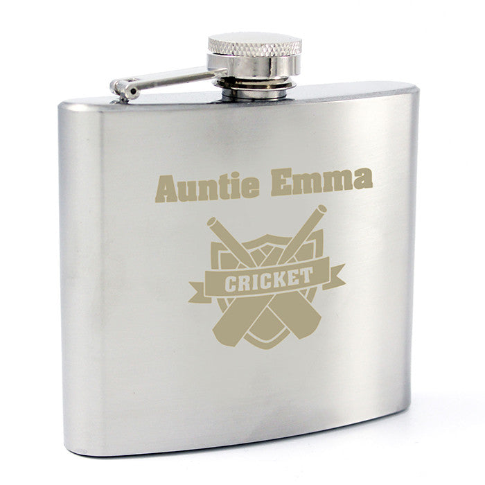 Personalised Cricket Hip Flask - Personalised Gift Solutions - 3
