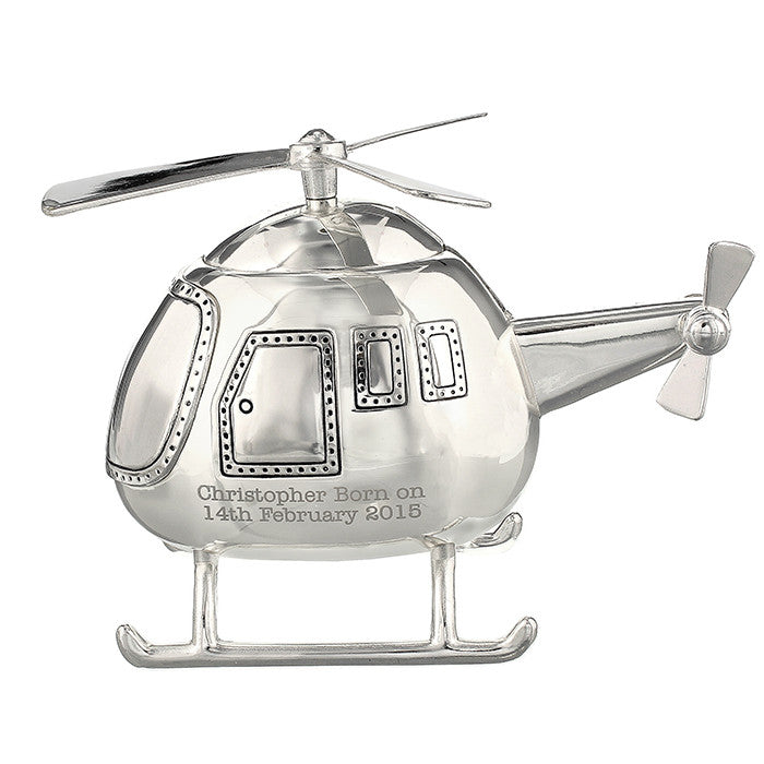 Personalised Silver Helicopter Money Box - Personalised Gift Solutions - 2