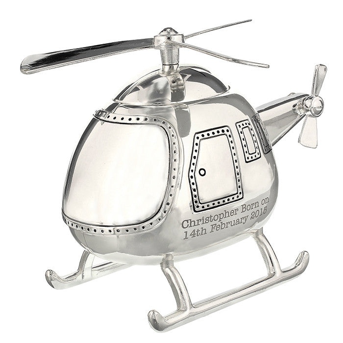 Personalised Silver Helicopter Money Box - Personalised Gift Solutions - 3