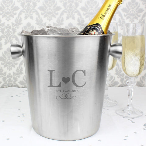 Personalised Monogram Stainless Steel Ice Bucket
