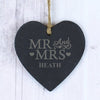 Personalised Mr & Mrs Small Slate Heart - Personalised Gift Solutions - 2