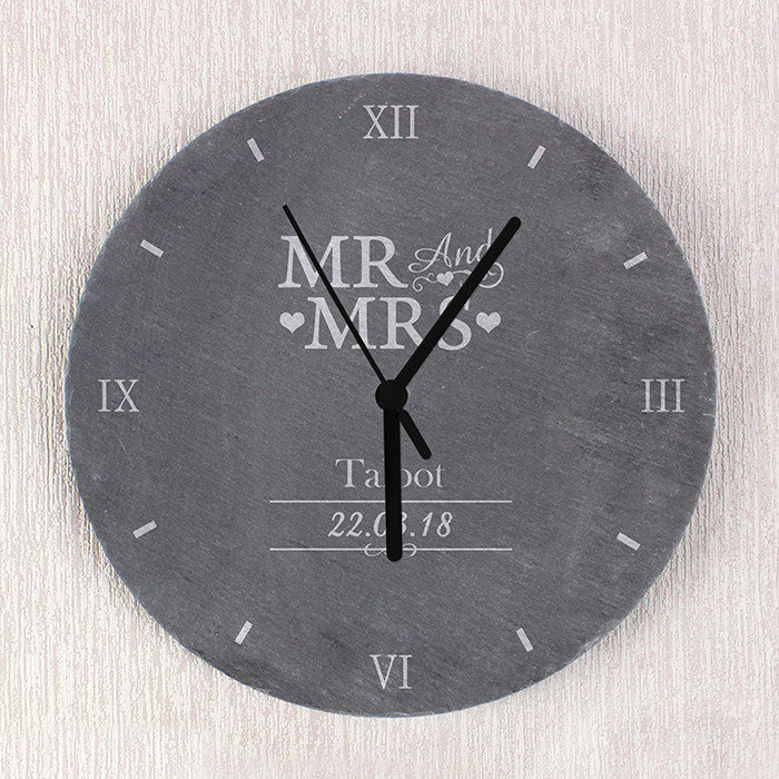 Personalised Mr & Mrs Slate Clock - Personalised Gift Solutions - 3
