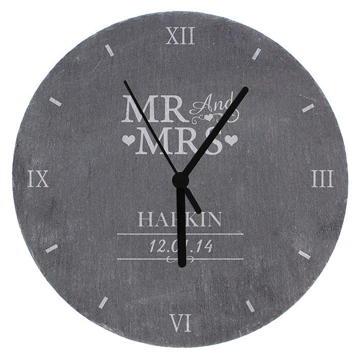 Personalised Mr & Mrs Slate Clock - Personalised Gift Solutions - 5