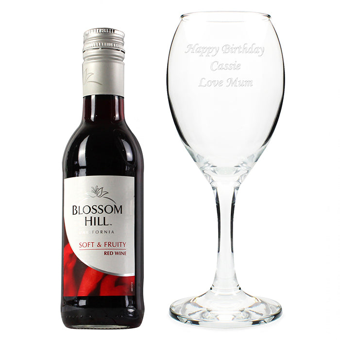 Personalised Red Wine & Glass Gift Set