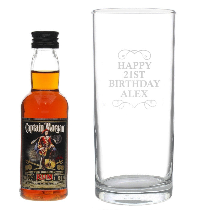 Personalised Captain Morgan Rum Glass & Miniature Set - Personalised Gift Solutions - 2