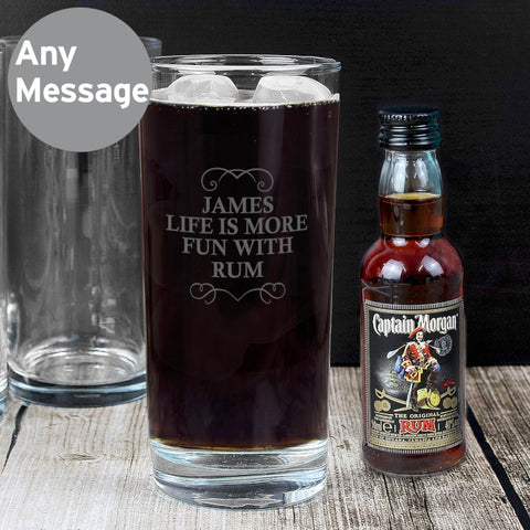 Personalised Captain Morgan Rum Glass & Miniature Set