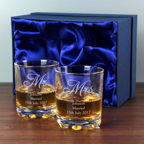 Pair of Glass Tumblers - Personalised Mr & Mrs