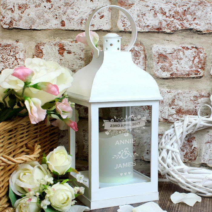 Personalised LED Lantern - Couple's Floral White