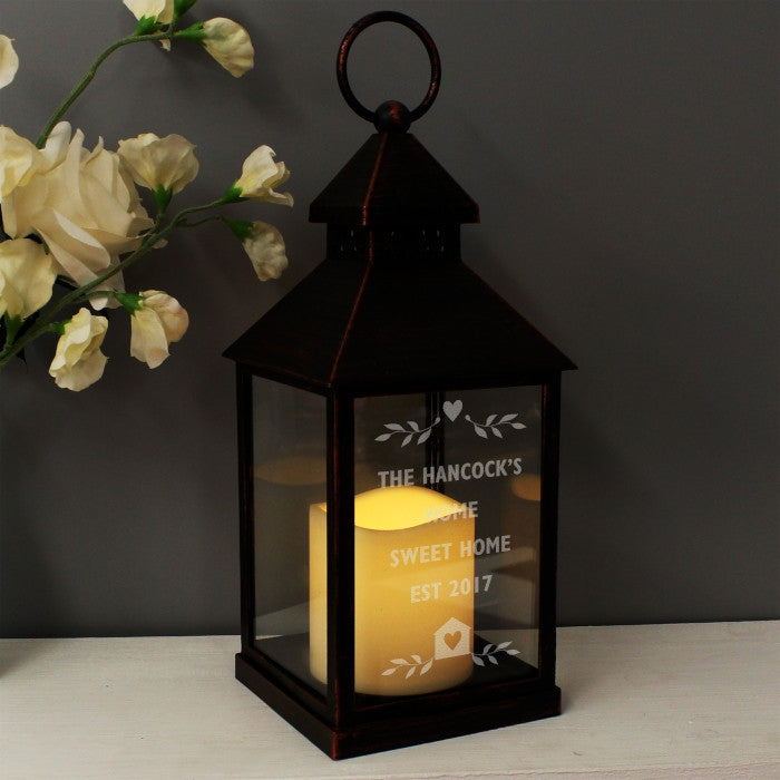 Personalised LED Lantern - Rustic