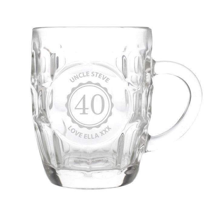 Traditional Dimple Pint Glass with Handle - Personalised Birthday