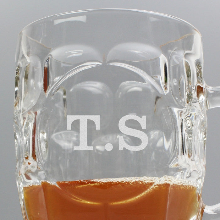 Traditional Dimple Pint Glass with Handle - Personalised Initials