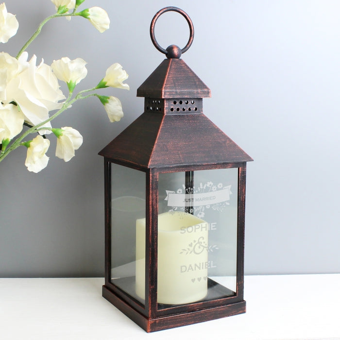 Personalised LED Lantern - Couple's Floral Rustic Black
