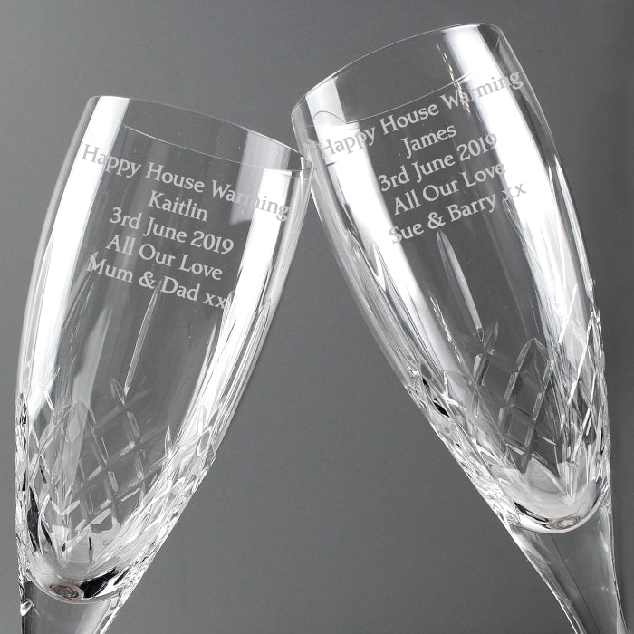 Personalised Pair of Crystal Champagne Glasses