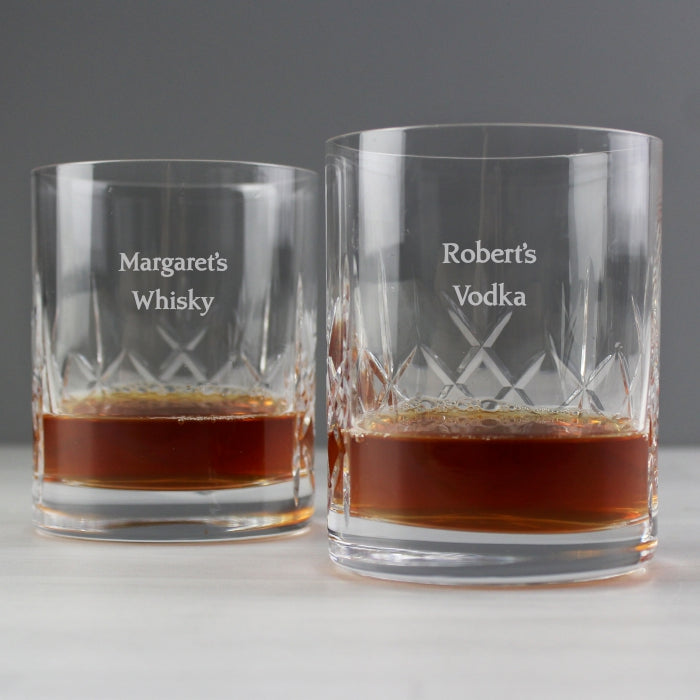 Personalised Pair of Crystal Whisky Glasses