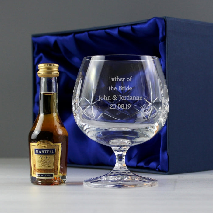Personalised Brandy & Crystal Glass Miniature Gift Set
