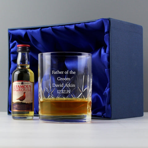 Personalised Whisky & Crystal Glass Miniature Gift Set