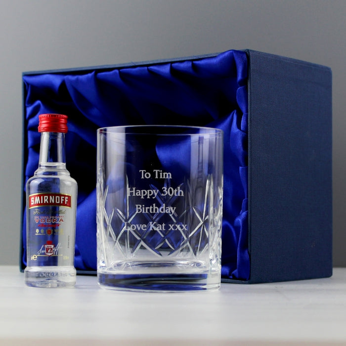 Personalised Vodka & Crystal Glass Miniature Gift Set