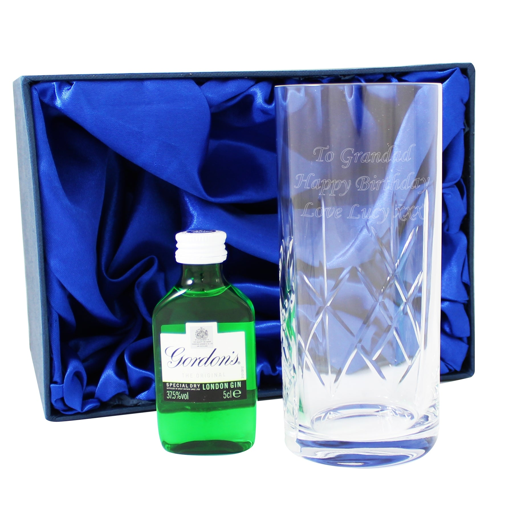 Personalised Gin & Crystal Glass Miniature Gift Set