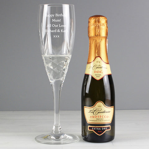 Personalised Prosecco & Crystal Flute Miniature Gift Set