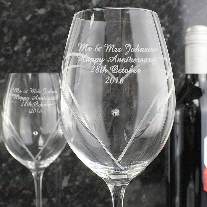 Personalised Hand Cut Diamante Heart Wine Glasses with Swarovski Elements - Personalised Gift Solutions - 1