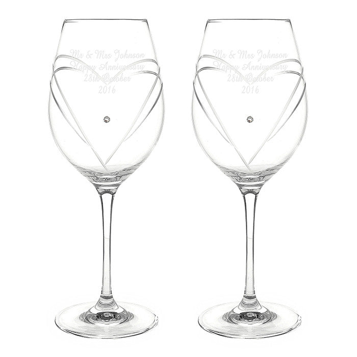 Personalised Hand Cut Diamante Heart Wine Glasses with Swarovski Elements - Personalised Gift Solutions - 8