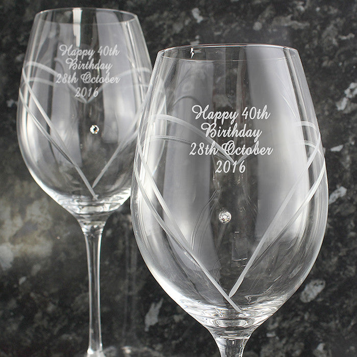 Personalised Hand Cut Diamante Heart Wine Glasses with Swarovski Elements - Personalised Gift Solutions - 3