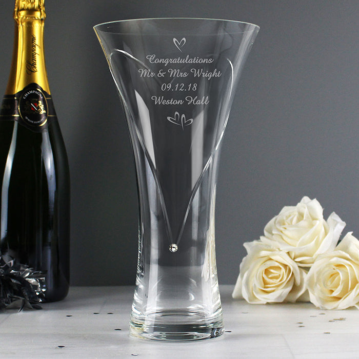 Personalised Hand Cut Diamante Little Hearts Vase with Swarovski Element