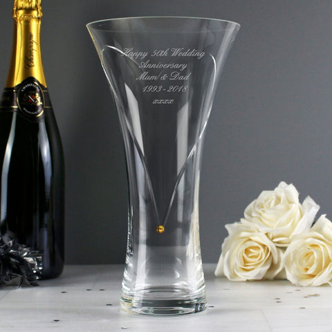 Personalised Hand Cut Gold Diamante Heart Vase with Swarovski Elements