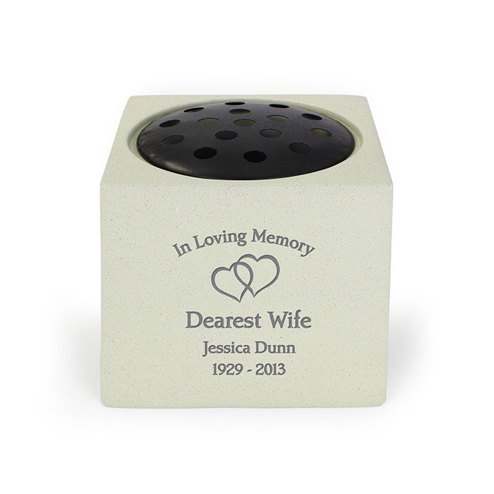 Personalised Memorial Vase For Graves Floating Hearts The