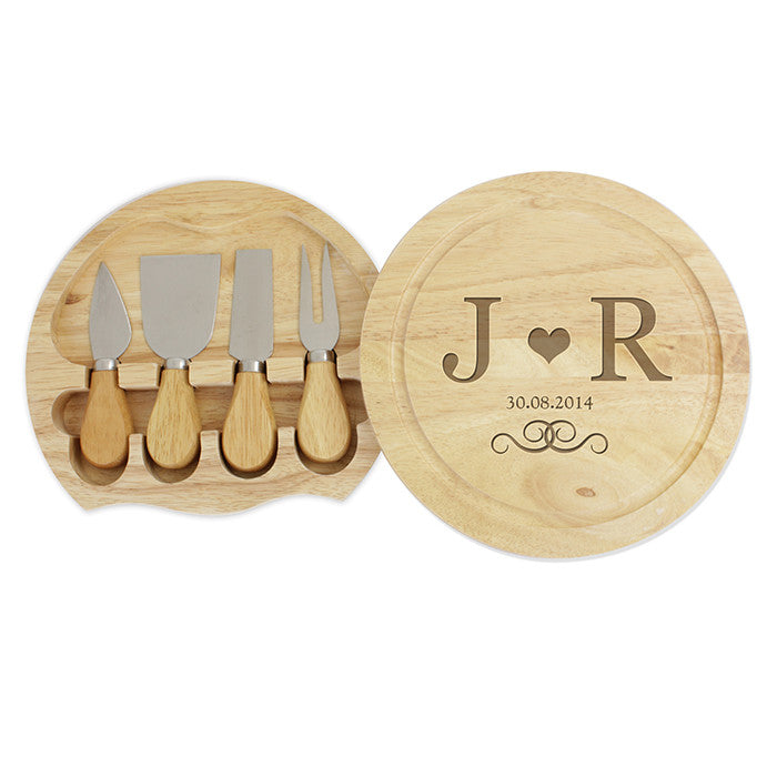 Personalised Monogram Large Cheese Board with Cheese Knives - Personalised Gift Solutions - 1