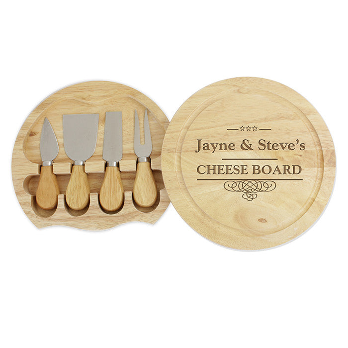 Personalised Large Cheese Board with Cheese Knives - Personalised Gift Solutions - 1