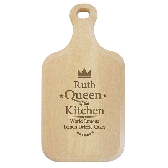 Personalised Queen of the Kitchen Large Paddle Chopping Board - Personalised Gift Solutions - 1