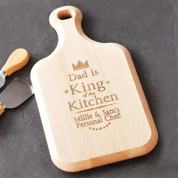 Personalised King of the Kitchen Large Paddle Chopping Board - Personalised Gift Solutions - 2