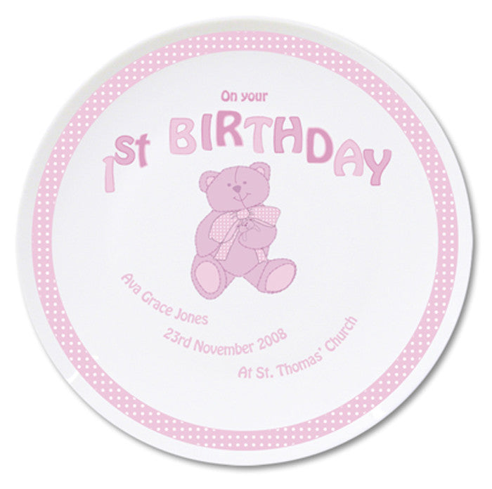 Personalised Teddy Pink 1st Birthday China Plate - Personalised Gift Solutions - 1