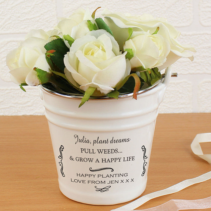 Personalised Scroll Porcelain Bucket - Personalised Gift Solutions - 1