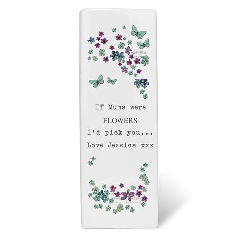 Personalised Forget Me Not Square Vase