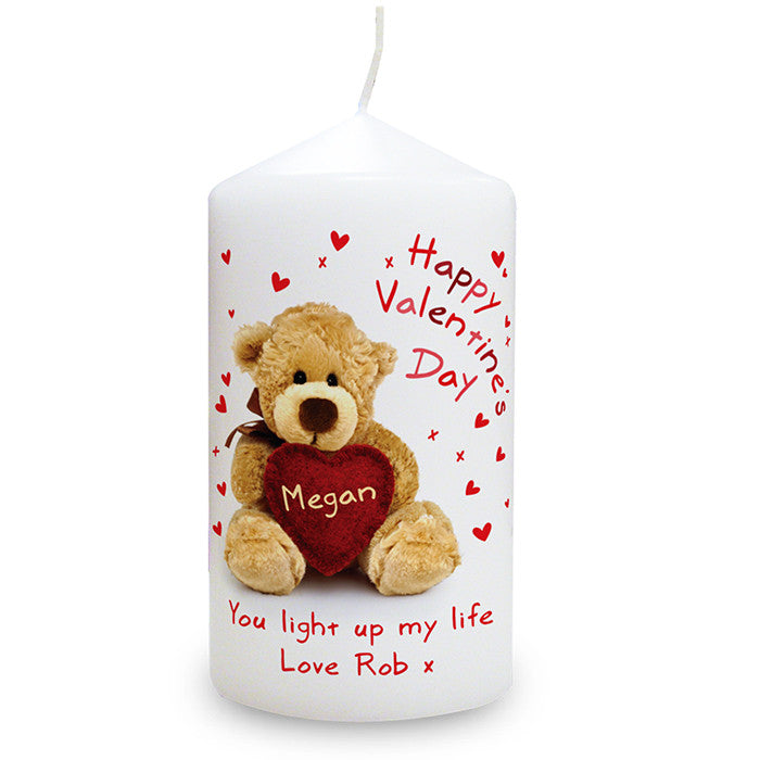 Personalised Teddy Heart Valentines Candle - Personalised Gift Solutions - 1
