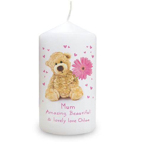 Personalised Teddy Flower Candle