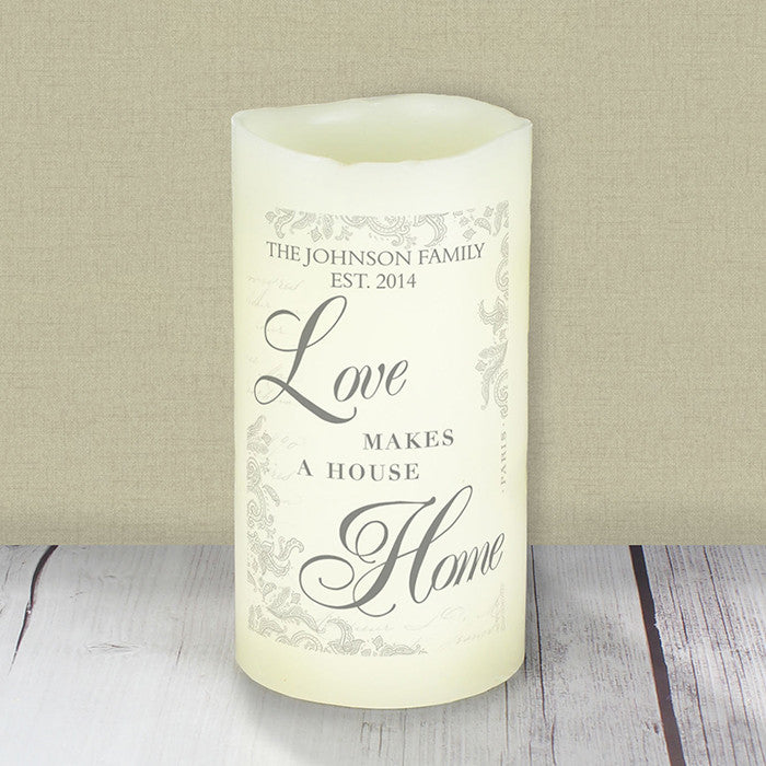 Personalised Love Makes a Home LED Candle - Personalised Gift Solutions - 2