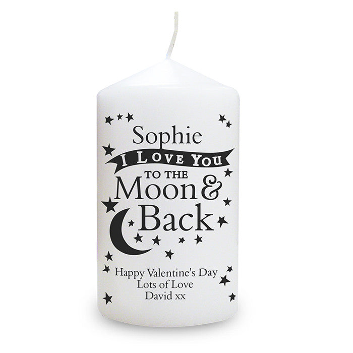 Personalised To the Moon and Back Valentines Candle - Personalised Gift Solutions - 1