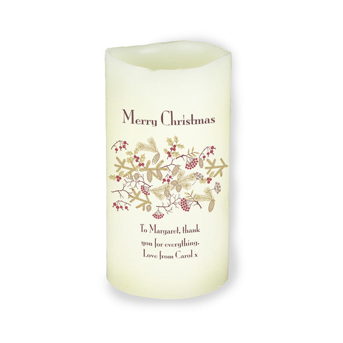 Personalised Christmas Floral LED Candle - Personalised Gift Solutions - 3