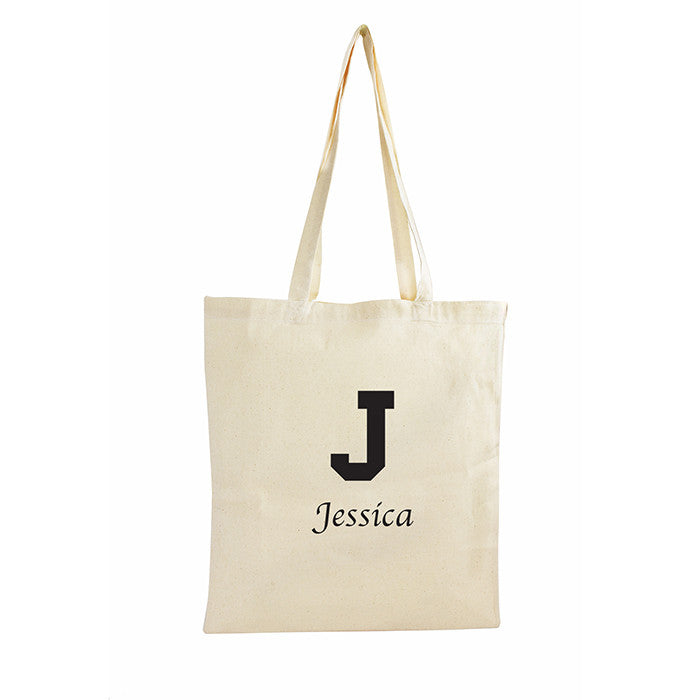 Personalised Black Initial Cotton Bag - Personalised Gift Solutions - 1